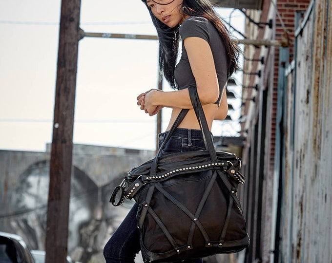Featured listing image: RAGE CAGE Soft Black Leather Haute Macabre Laptop Bag
