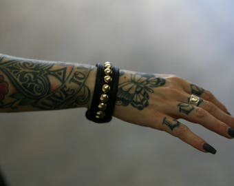 GOLDIE BACKSTAGE Black Punk Rock Leather Cuff Bracelet with Brass Studs