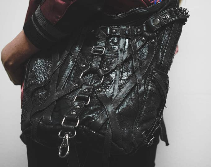 Featured listing image: Mini RAGE CAGE Black Leather Hobo Shoulder Bag by Jungle Tribe