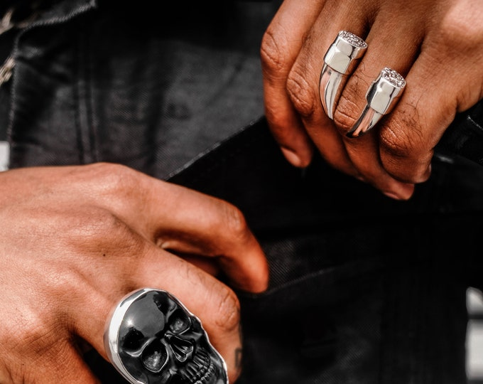 Featured listing image: Carved Rock and Silver SKULL Ring : Your Choice of Stone
