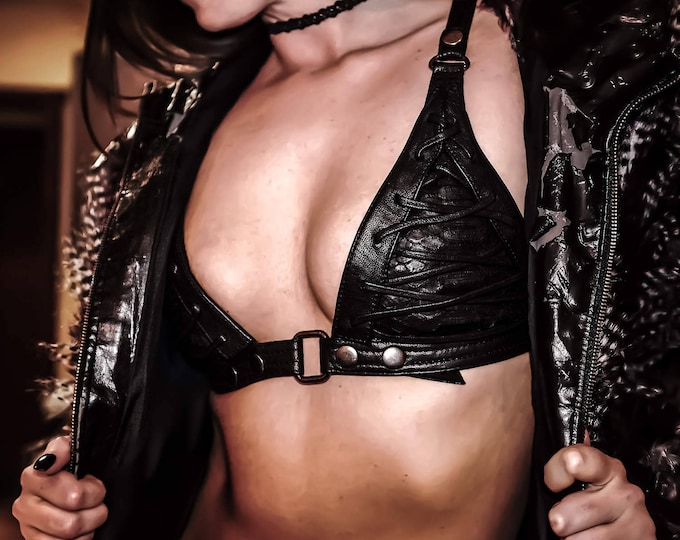 Featured listing image: VENOMOUS VENGEANCE Black Leather Bra Halter Top