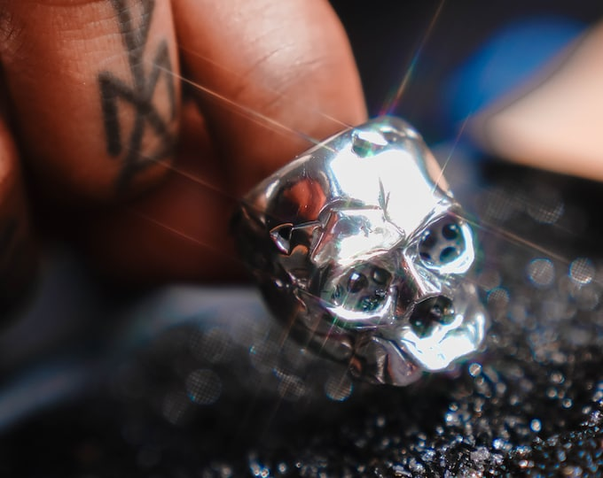 Featured listing image: Black Diamond Eye Silver Skull RIng