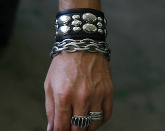 PRIMITIVE ORBS Leather Studded Punk Cuff Metal Bracelet