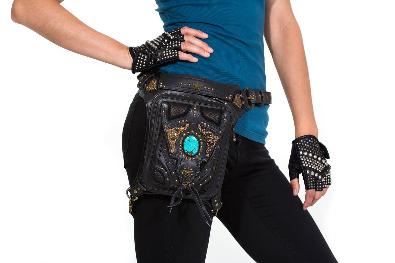 cd1462b59b3a VINTAGE VIBES Black Leather Holster and Hip Bag With Turquoise
