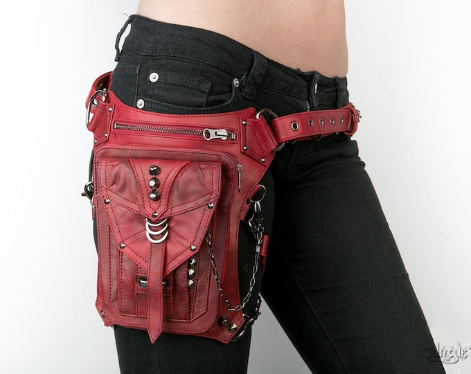 Featured listing image: BLOODY PENNY Red Leather Waist Holster and Hip Bag