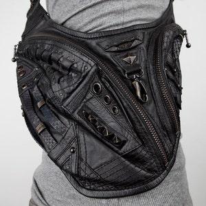 160439a7dd SAMURAI SLAYER Black Leather Crossbody Mini Messenger Bag