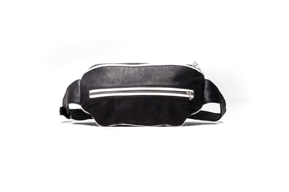 High Contrast Leather Fanny Pack Convertible Cross Body Bag