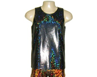 Men's Black Holographic Sparkle Tank Top Singlet Burningman Stretch Tee Shirt Disco Sparkle Shiny Lame Rave EDC  Festival