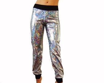 Holographic Sparkle Silver Skinny Joggers, Pants, Men Women Lame Metallic Dance Sweats Shiny Dancing Tree Creations Halloween Burningman