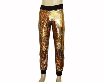 b0485290267 Holographic Sparkle Gold Joggers