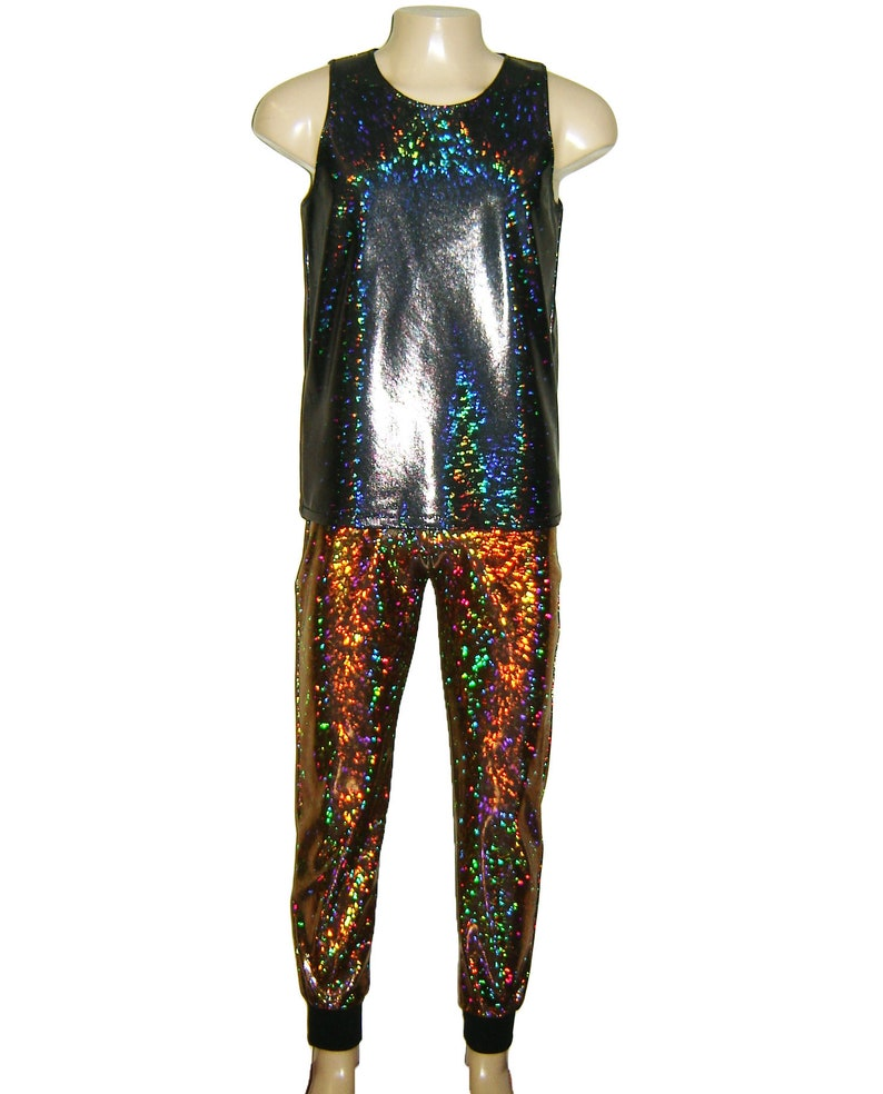4e5a9f1ccb3d9 Men s Black Holographic Sparkle Tank Top Singlet