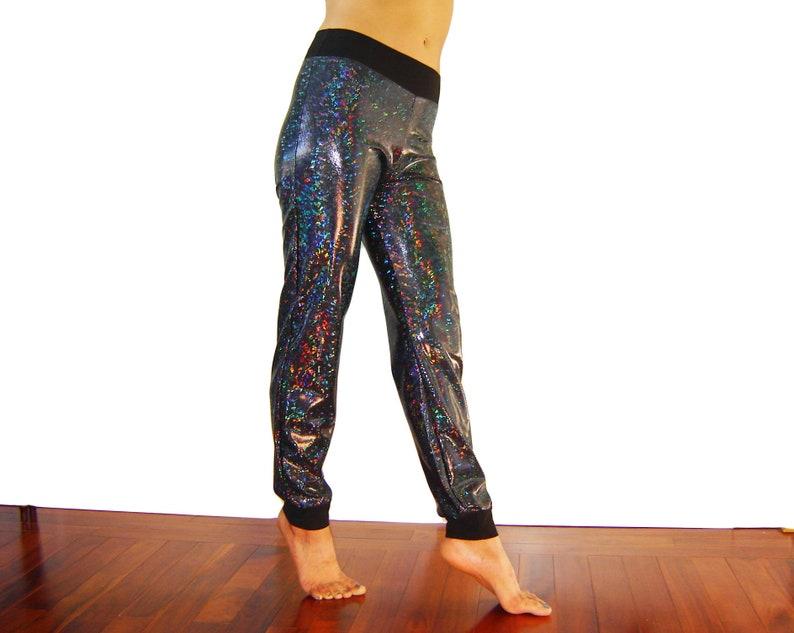 627e8ed4c89f4 Holographic Black Sparkle Skinny Joggers Pants Men Women | Etsy