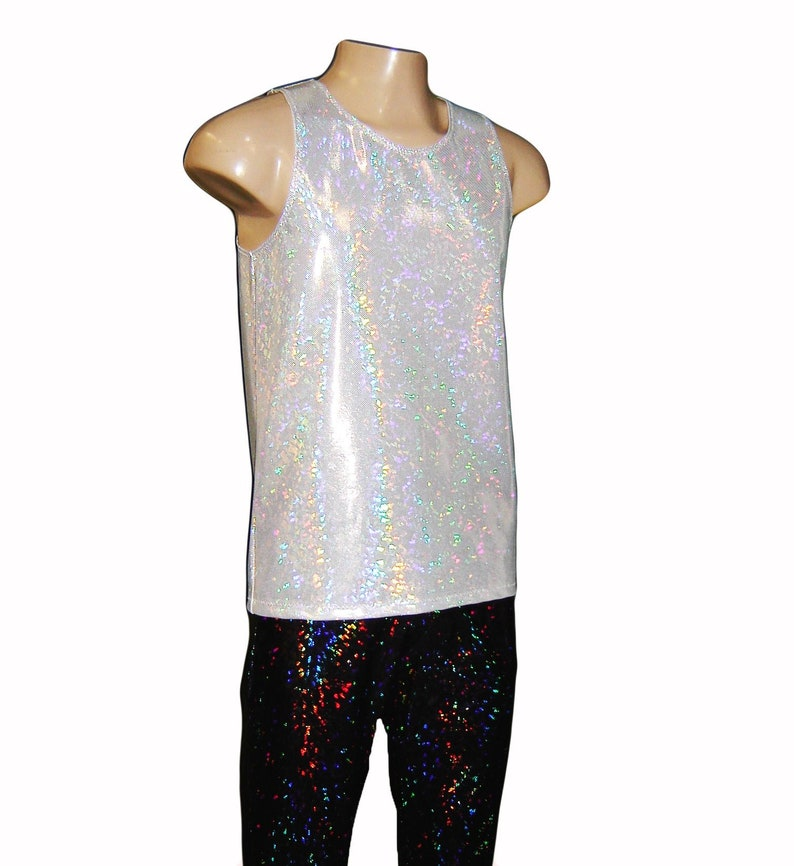 cb1b5729480ec Men s Holographic White Sparkle Tank Top Singlet