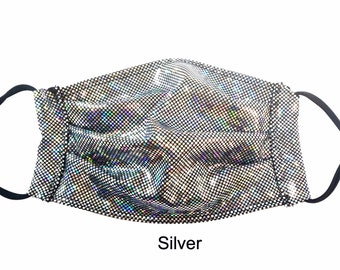 Sparkly Face Mask with Filter Pocket Adjustable Ear Loops Burningman Festival Holographic Party Facemask Corona Covid Couture Rave Halloween