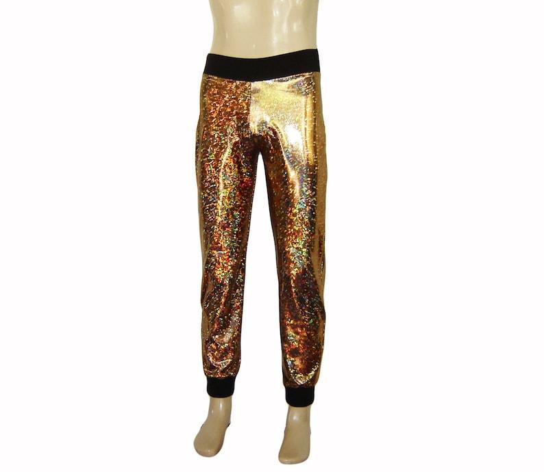 2d6e95d4a9c6e Holographic Sparkle Gold Joggers Skinny Pants Men Women | Etsy