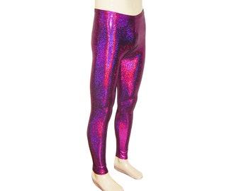 Fuchsia Holographic Leggings - Burningman, Halloween - Festival Shiny Sparkle Stretch Dance Women's Men's New Years Hologram