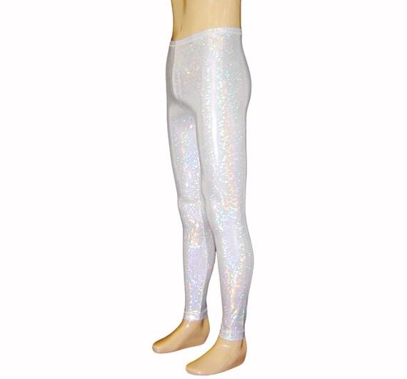 9434fa6dc7d12 Pearl White Holographic Leggings Burningman Halloween | Etsy
