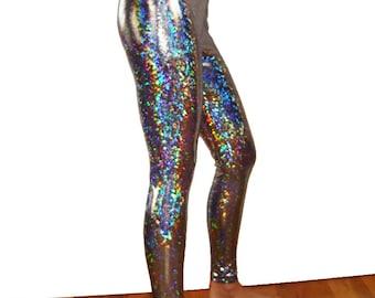 Silver Holographic Leggings - Burningman, Halloween, Metallic - Festival Shiny Sparkle Pants Stretch Dance Women's Men's New Years Hologram