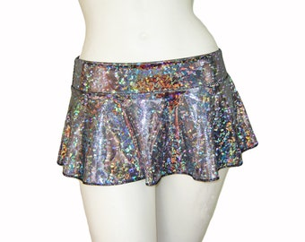 Holographic Micro MIni Skirt Shiny Sparkles Halloween Rave Poller Derby