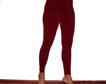 Bamboo and Organic Cotton Leggings Black, Olive, Burgundy for Women and Men Tights Eco Friendly Stretch Pants