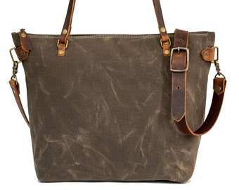 Waxed Canvas Tote   Canvas Tote Bag   Crossbody Bag   Large   Made in USA