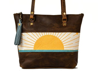 Limited Edition | Small Leather and Fabric Zipper Tote Bag | Handmade Leather and Fabric Purse |  The Sunrise Tote | Made in USA