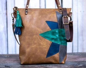 Clearance   Leather tote   Made in USA    The Botanical Tall Zipper Tote    01