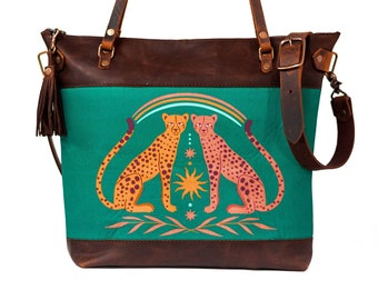 Limited Edition | Leather and Fabric Zipper Tote Bag | Handmade Leather and Fabric Purse |  The Cheetah Tote | Made in USA