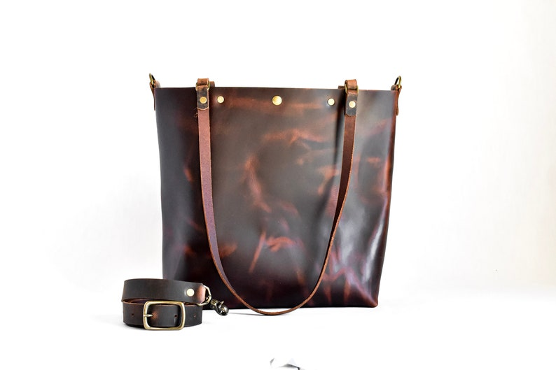 Leather Purse Zipper Leather Bag Leather Tote Bag