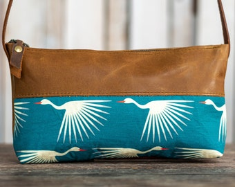Limited Edition| Small Leather and Fabric Zipper Bag | SMALL Handmade Leather and Fabric Purse |  Handbag | Crossbody Satchel | Made in USA