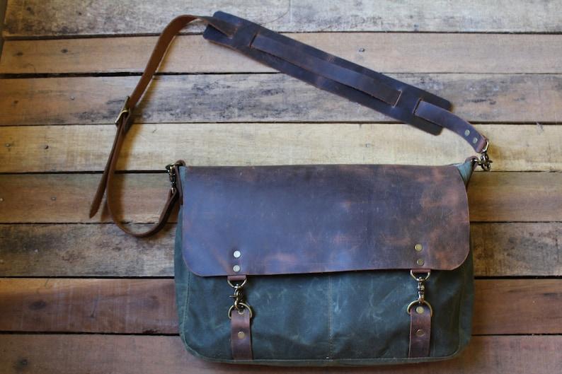 4cf6919bf677 Leather Messenger Bag Canvas Messenger Bag Waxed Canvas
