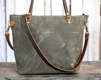 Waxed Canvas Bag | Tote Bag | Crossbody Bag | Large | Made in USA