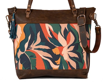 Limited Edition | Leather and Fabric Zipper Tote Bag | Handmade Leather and Fabric Purse |  The Jungle Tote | Made in USA