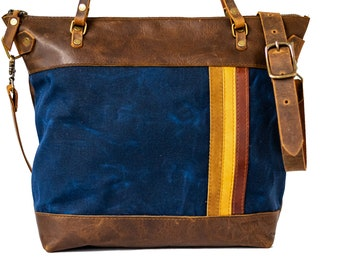 Limited Edition Leather and Waxed Canvas Tote Bag | The New Bowler Bag | Made in USA