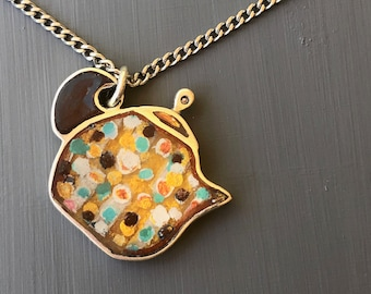 painted teapot pendant - golden pattern one of a kind