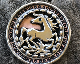 Horse brooch - wild horse pin - one of a kind handmade