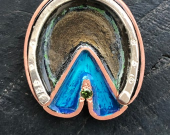 Horse hoof pendant with turquoise blue frog and sparkly green pebble. Creative Equestrian artisan jewelry