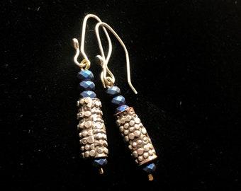 Funky beaded dangle earrings- earthy handmade blue silver