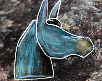 Blue burro pin- painted sterling silver brooch