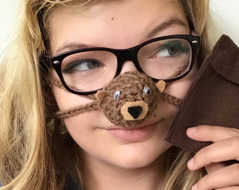 NOSE WARMER Brown Bear with matching Pouch  Fun Gift Idea  Handcrafted by Aunt Marty in USA  Perfect gift idea for everyone Useful Fun