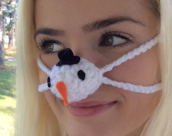 NOSE WARMER Snowman Hat  by Aunt Marty Winter Nose Cover. Unisex Gift  Ready to Ship,  Grandmother Best friend CoworkerTeacer