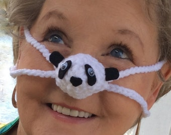 NOSE WARMER Panda by Aunt Marty, Animal Lover Nose Cover, Unisex Stocking Stuffer Gift, Winter Nose Heater