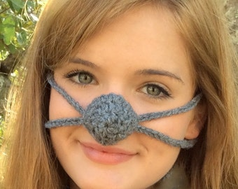 NOSE WARMER Dark Gray by Aunt Marty, Unisex, Christmas Fun for all nippy noses