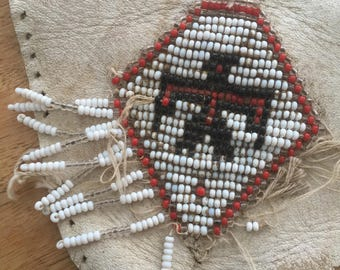 Antique Beadwork. Thunderbird. Top of a Mocassin. White Leather