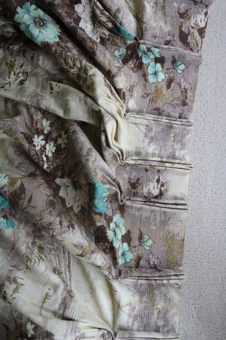 Gold Vintage Barkcloth Curtain Gigantic Barkcloth Fabric Soft Lavender Turquoise