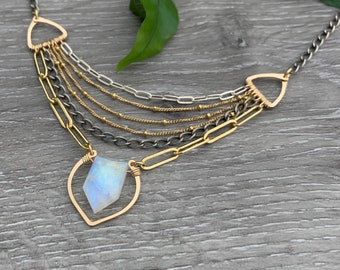Moonstone Statement Necklace, Multi Chain Necklace, Mixed Metal Jewelry, Sterling Silver and 14Kt Gold Fill Necklace