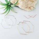 Hexagon Hoops -Large // Geometric // Hammered // Sterling Silver  // Gold Filled // Rose  Filled // Minimalist // Modern  // Wire Earrings