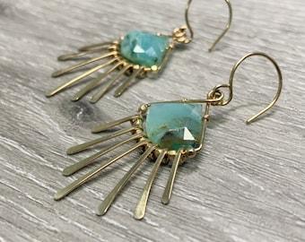 Boho Opal Earrings, 14K Gold Filled, 14K Rose Gold Filled, Sterling Silver, Sunburst Earrings, Moonbeam Earrings