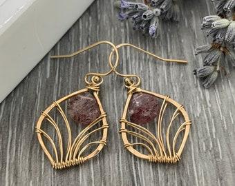 14K Gold Fill Filigree Leaf Gemstone Earrings, Dainty Red Stone Earrings, Wire Wrapped Earrings, Gift For Her