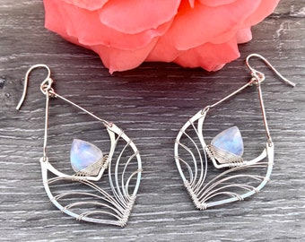 Silver Filigree Earrings, Rainbow Moonstone Jewelry, 14K Gold Earrings, Nickel free jewelry, Wire Wrapped Earrings